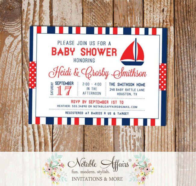 Dark Navy and Red Sailboat Stripes and Polka Dots Baby Shower invitation