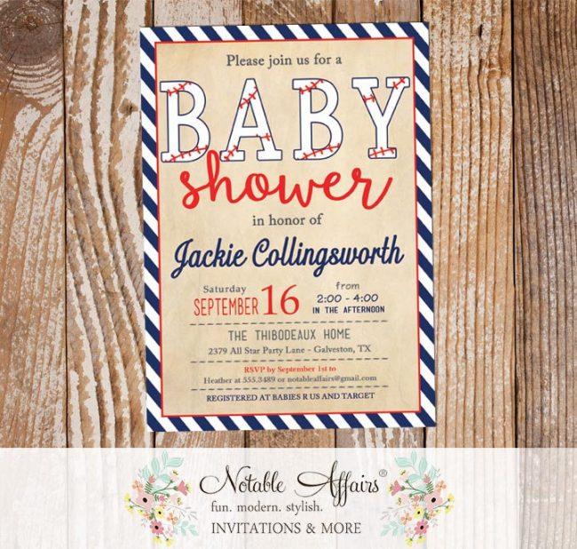 Dark Navy and Red Vintage Diagonal Stripes Baseball Stitching Baby Shower Invitation All Star Baby Shower Little Slugger Baseball Shower