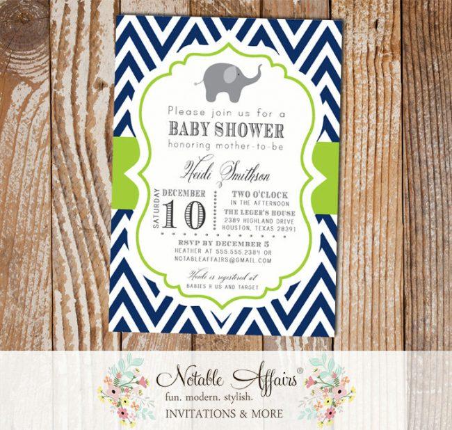 Dark Navy Blue and Chartreuse Green Chevron Elephant Baby Shower, Birthday, etc Invitation