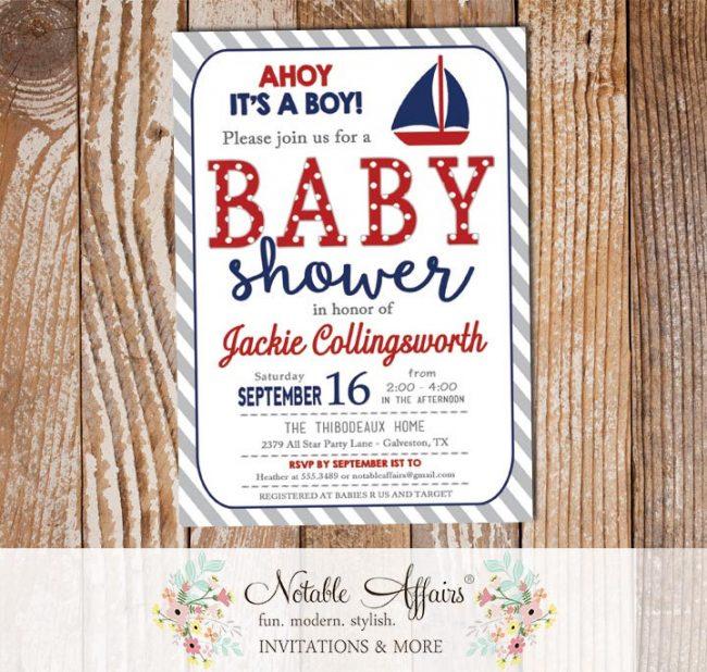 Dark Navy Blue Dark Red Sail Boat Nautical Baby Shower Invitation