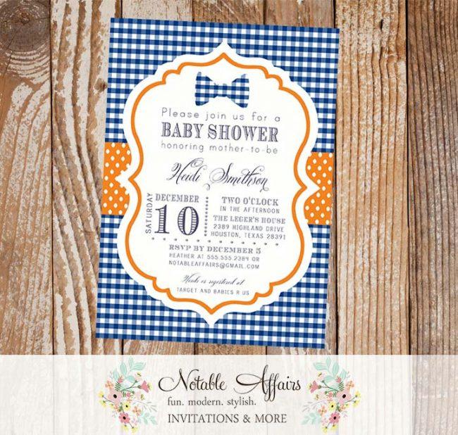 Dark Navy Blue Gingham and Orange Bowtie Little Man Baby Shower or Birthday Invitation