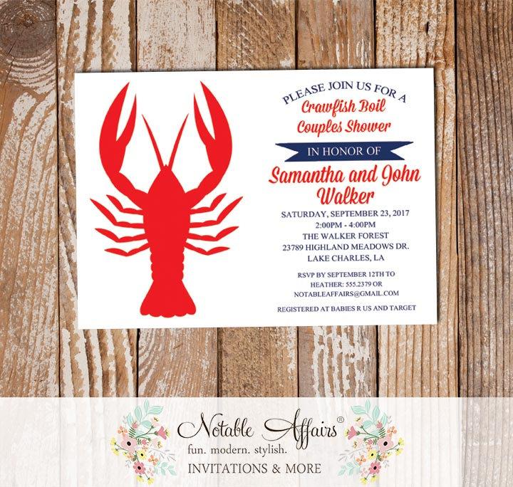 Dark Navy Red Crawfish Boil Low Country Boil Invitation On White