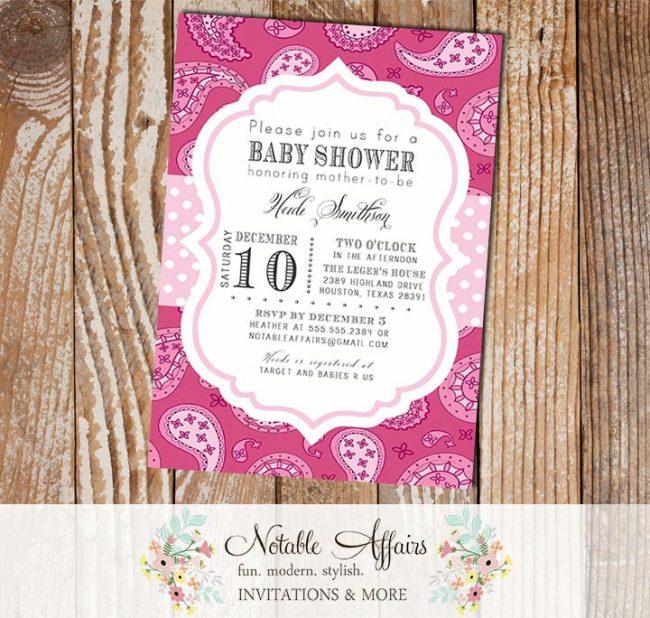 Dark Pink Light Blush Pink Paisley Baby Shower Birthday or Bridal Shower Invitation
