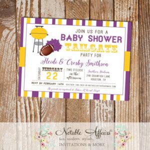 Dark Purple and Deep Yellow Football Tailgate Baby Shower Invitation