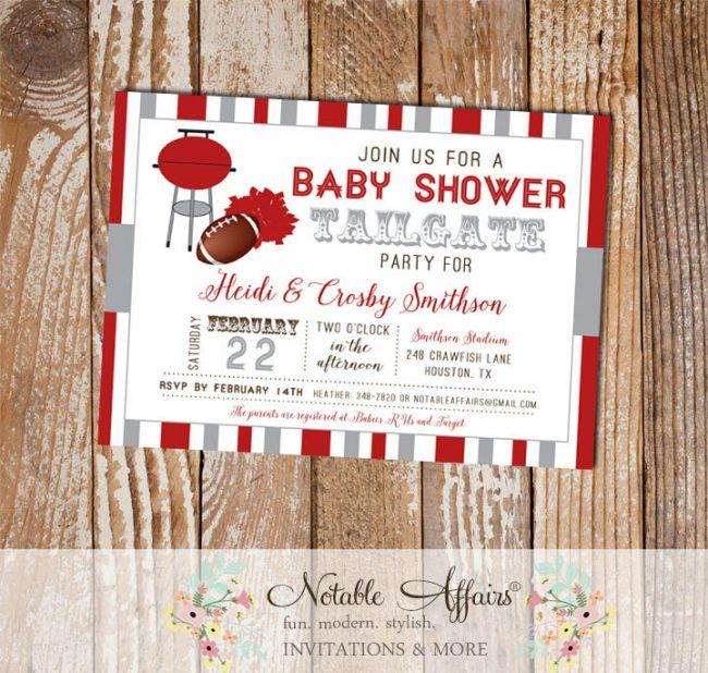 Dark Red and Gray Football Tailgate Baby Shower Invitation