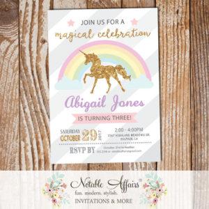 Diagonal Stripes gold glitter unicorn Rainbow invitation