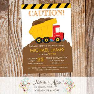 Dirt Dump Truck Bulldozer Yellow Black White Construction Birthday Party Invitation