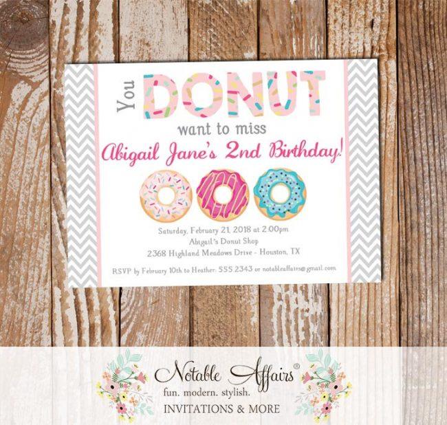 Donut Sprinkles Colorful Birthday Invitation
