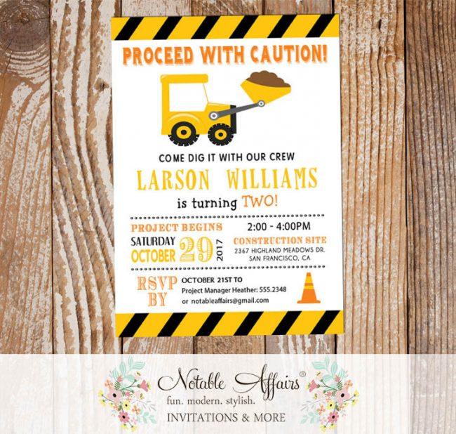 Dump Truck with dirt Bulldozer Yellow Black Construction Birthday Party Invitation