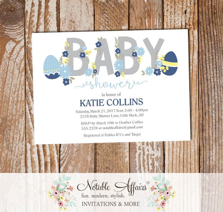 Easter Egg Navy Light Blue Flowers Boy Modern Baby Shower Invitation