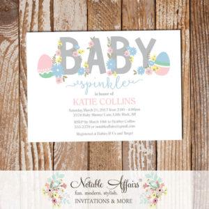 Easter Egg Pink Light Blue Flowers Gender Neutral Modern Baby Shower invitation