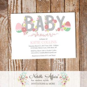 Easter Egg Pink Light Pink Flowers Girl Modern Baby Shower invitation