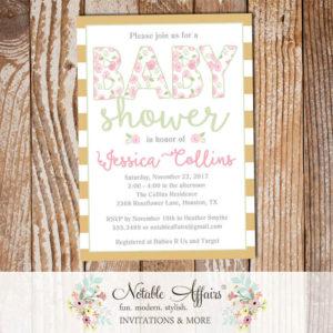 Elegant Shabby Chic Light Pink Tan Gold Watercolor flowers Baby Shower invitation