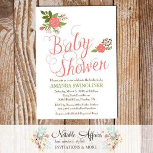 Elegant Simple Rose Posies Flowers Baby Shower invitation