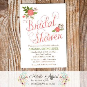 Elegant Simple Rose Posies Flowers Bridal Shower invitation