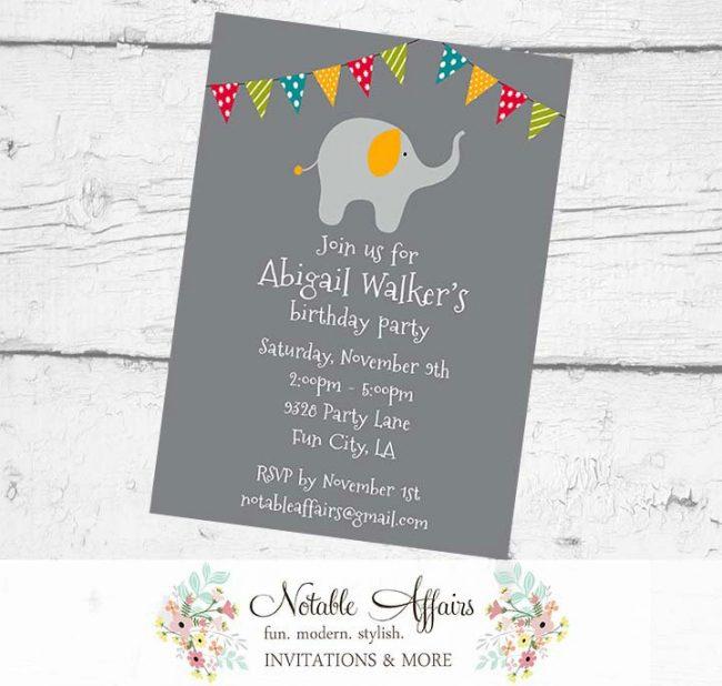 Elephant Birthday Party Baby Shower Polka Dots Stripes Invitation