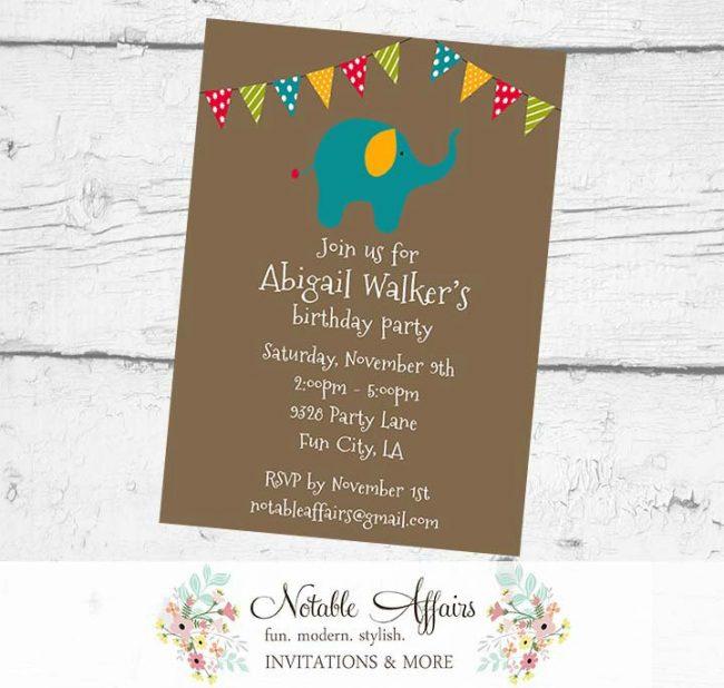 Elephant Circus Birthday Party Baby Shower Polka Dots Stripes Invitation