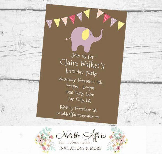 Elephant Girl Circus Birthday Party Baby Shower Polka Dots Stripes Invitation
