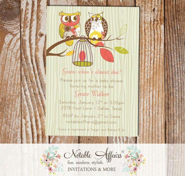 Fancy Owls Baby Egg Bird cage Wood Tree Bark Baby Shower Invitation
