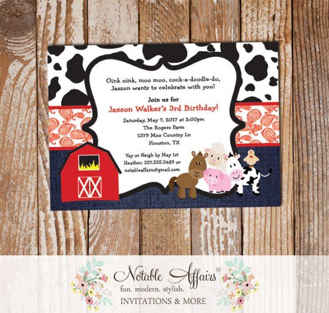 Farm Barnyard Animals Cow Print Paisley Denim Birthday party invitation