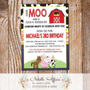 Farm Barnyard Animals Cow Print Paisley Denim Vertical2 Birthday party invitation