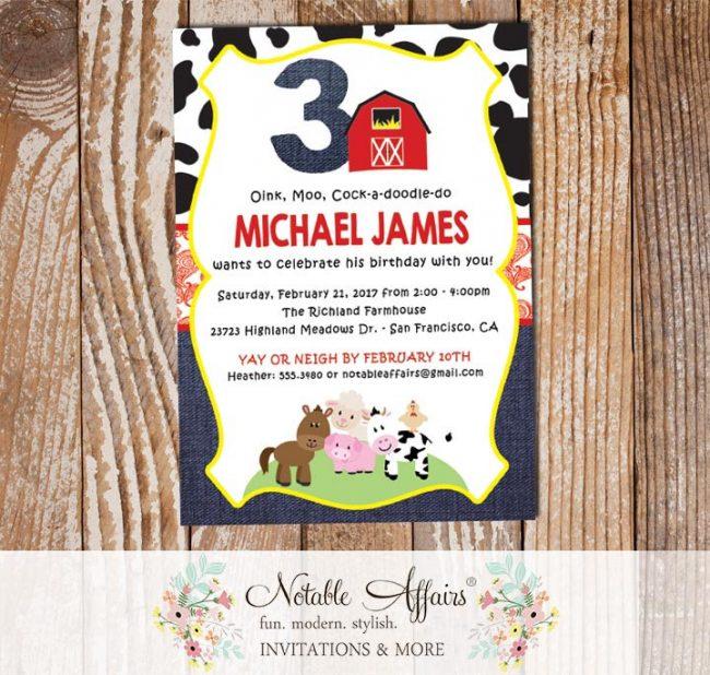 Farm Barnyard Animals Cow Print Paisley Denim Vertical3 Birthday party invitation