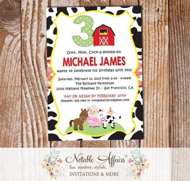 Farm Barnyard Animals Cow Print Paisley Vertical Birthday party invitation