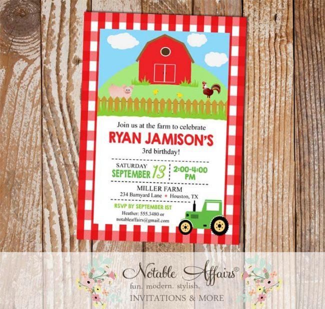 Farm Barnyard Animals Tractor Birthday party invitation on Red Gingham