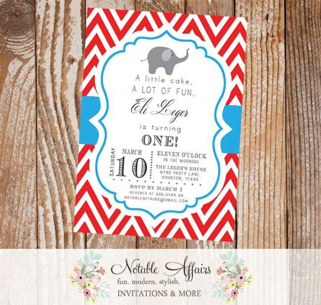 First Birthday Red and Cyan Blue Chevron Elephant Circus Fair Modern Baby Shower Birthday Invitation