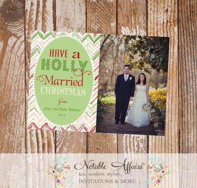 First Married Christmas Chevron Pink, Mint, Dark Green, Dark Red Christmas Photo Card