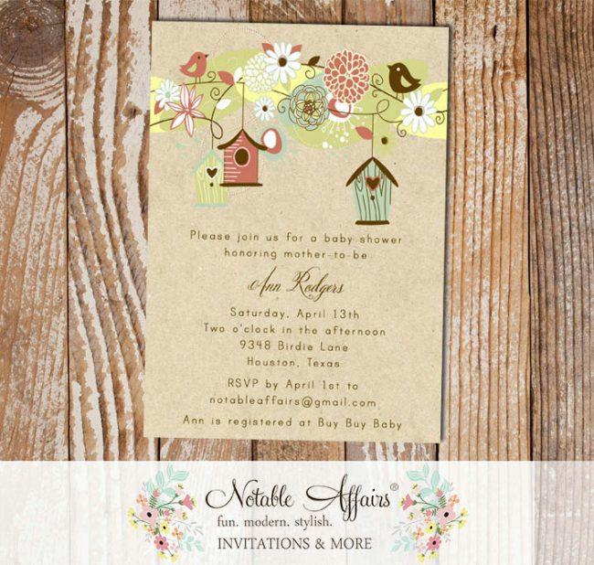 Floral Birds and Birdcages Birdhouse on Kraft Baby Bridal Shower Housewarming Invitation