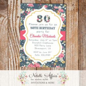 Floral Milestone Birthday 13th, 16th, 18th, 20th, 21st, 30th, 40th, 50th, 60th, 70th, 80th, 90th, 100th Modern Invitation