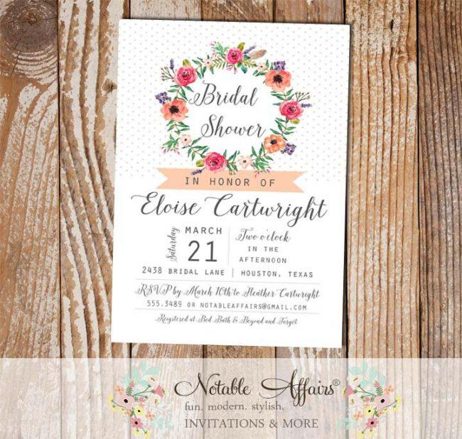 Floral Wreath Watercolor Flowers Pin Dot Elegant Classy Bridal Shower invitation