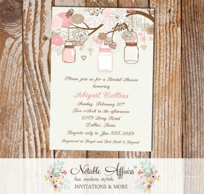 Flowers Branch Mason Jars Wedding Shower Bridal Shower Baby shower or birthday party invitation