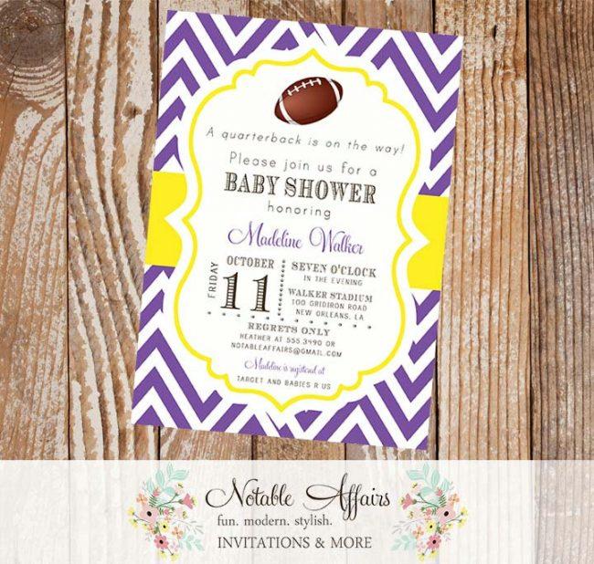 Football Chevron Quarterback Baby Shower Invitation