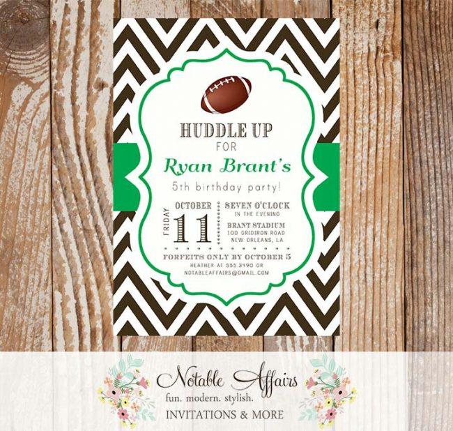 Football Chevron Quarterback Birthday Party Baby Shower Invitation
