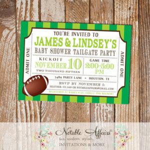 Football Tailgate Baby Shower Ticket Invitation