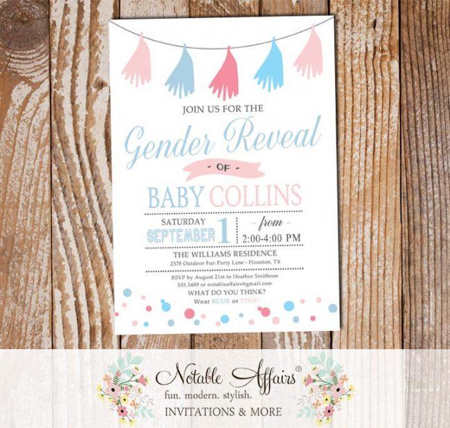 Gender Neutral Baby Gender Reveal Tassel Confetti Dots invitation