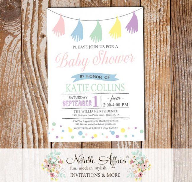 Gender Neutral Baby Shower Tassel Confetti Dots invitation