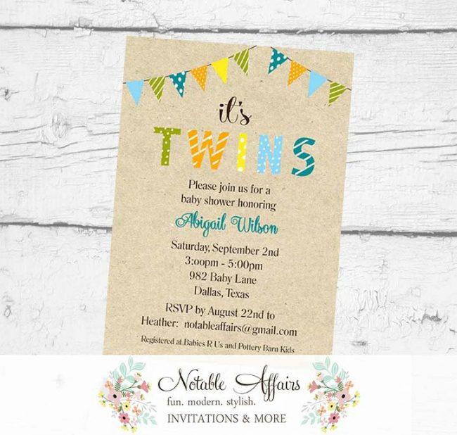 Gender Neutral It's TWINS Bunting Baby Shower Polka Dots Stripes Invitation Kraft Background