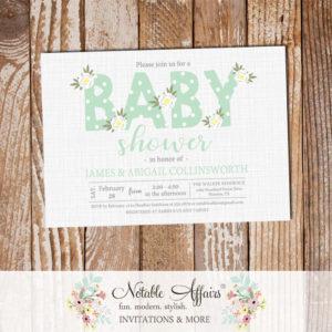 Ghost Mint Gender Neutral Flower Posie Modern Floral Baby Shower invitation on gray linen
