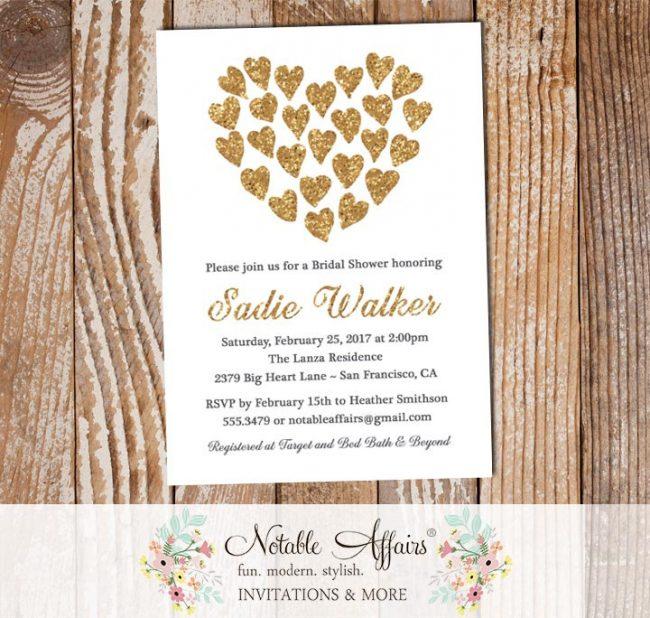 Gold Glitter Heart Shape Hearts Bridal Shower invitation