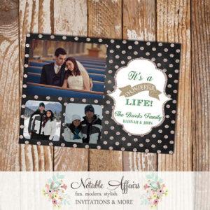 Gold Glitter Sparkle Chalkboard Polka Dot Its a wonderful life Holiday Photo Card