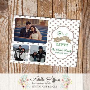 Gold Glitter Sparkle White Polka Dot Its a wonderful life Holiday Photo Card