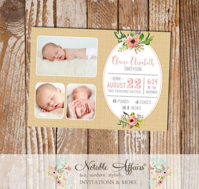 Golden Brown Linen Watercolor Floral Posie Wreath Photo Birth Announcement card