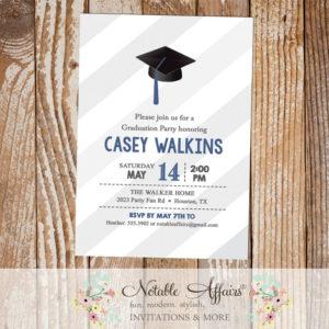 Graduation Party Senior High School College Graduation Invitation on gray diagonal stripes