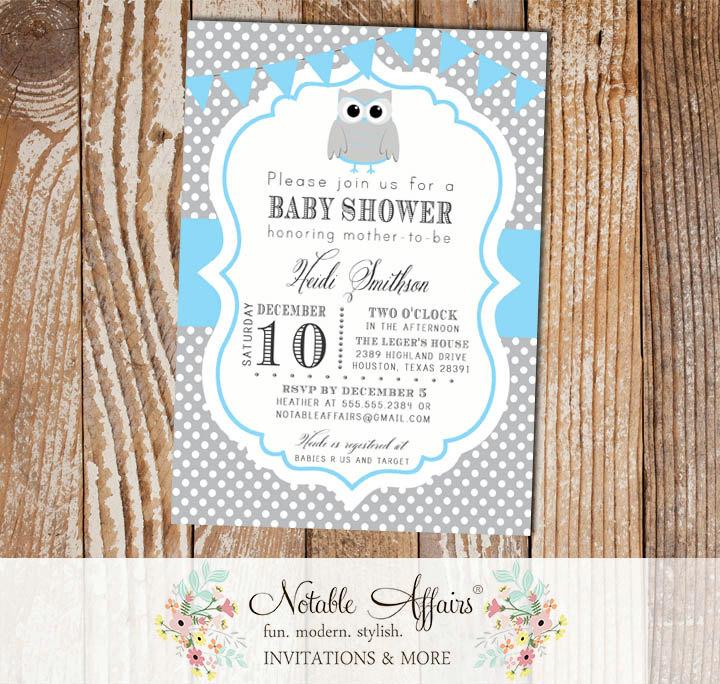 Gray and blue polka dot owl baby boy birthday shower invitation with gray and blue polka dot owl baby boy birthday shower invitation with bunting filmwisefo