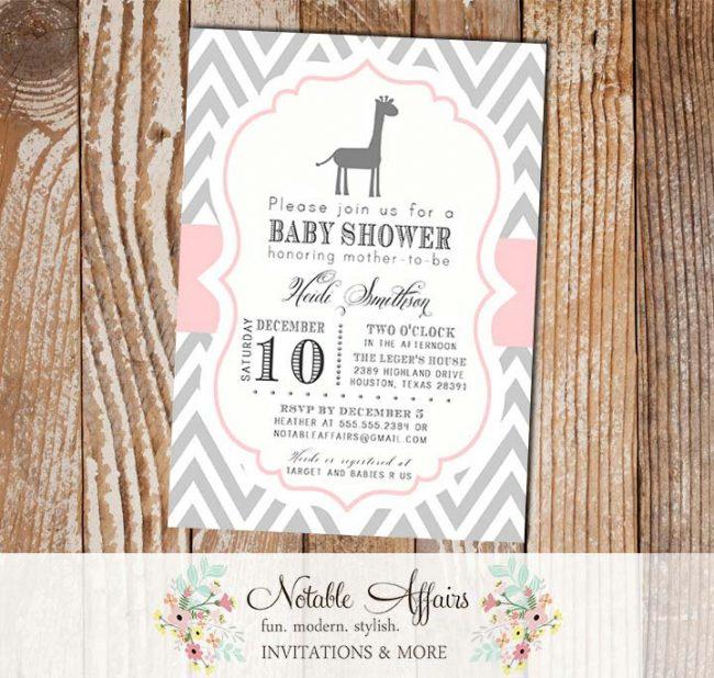 Gray and Blush Light Pink Chevron with Giraffe Modern Girl Baby Shower Invitation