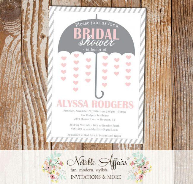 Gray and Blush Light Pink Umbrella Hearts Bridal Wedding Shower invitation
