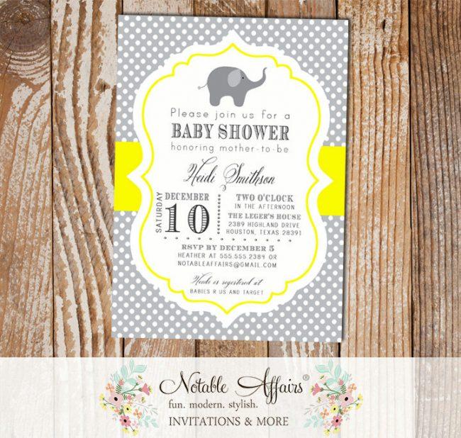 Gray and Bright Yellow Polka Dot Elephant Modern Baby Shower Birthday Invitation